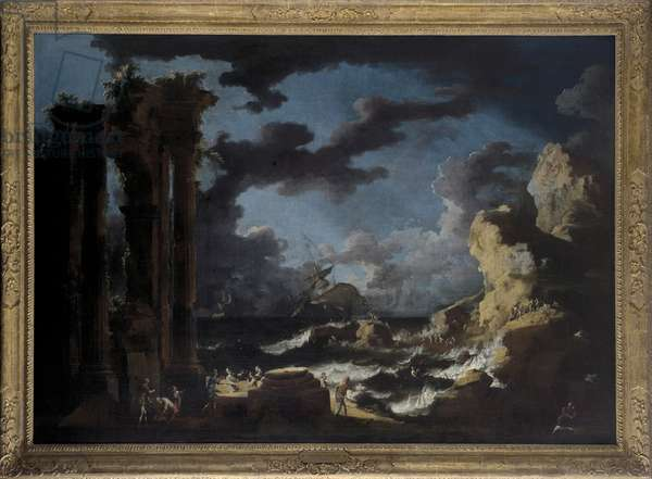 Port of Ostia during a Tempest, c.1740s (oil on canvas)