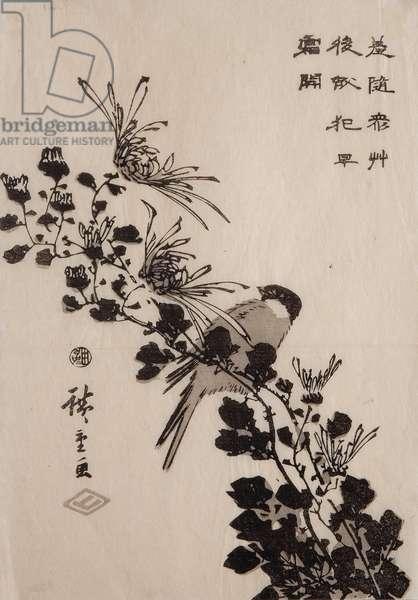 Titmouse on a chrysanthemum branch, c.1843-45 (woodcut)