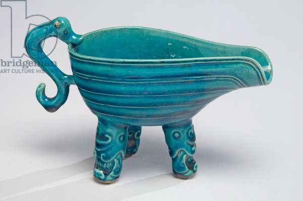 Wine Cup or Water Dropper, early 18th century (porcelain with turquoise glaze)