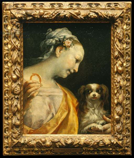 A Lady with a Dog, c.1690-1700 (oil on canvas)