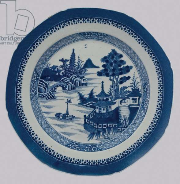 Plate with landscape and water design, c.1800 (porcelain with cobalt blue underglaze)