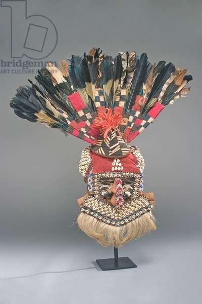 Helmet mask (Moshambwooy), Bushoong clan, Kuba Kingdom, Democratic Republic of Congo (mixed media)