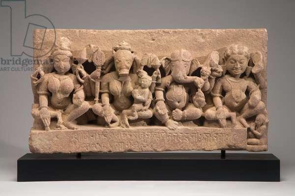 Architectural frieze depicting four Hindu deities, 1106 (sandstone)
