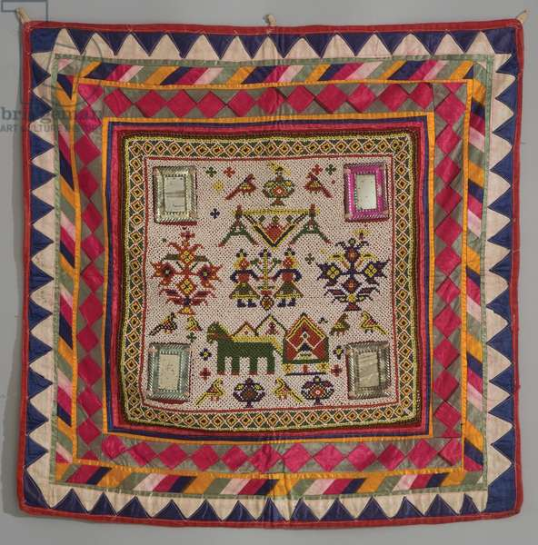 Altar back panel, c.1950 (silk, cotton, dye, glass beads & mirrors)