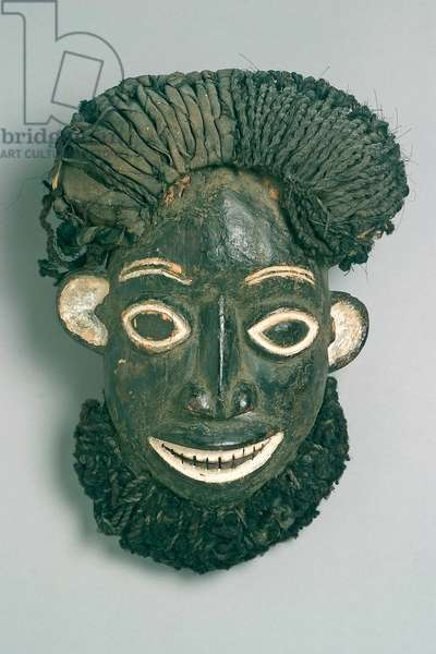 Cap crest mask, Babanki people (Cameroon) (wood, cotton, hair, plant fibre, raffia, paint & kaolin)