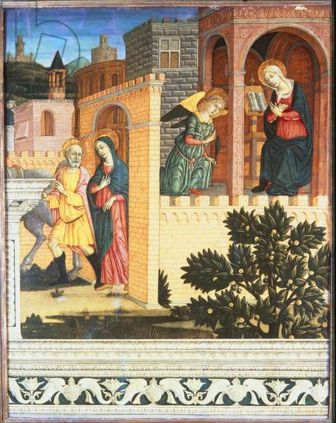The Annunciation and the Journey to Bethlehem, c.1480-90 (tempera on wood)