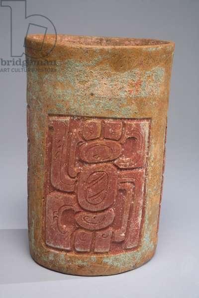 Cylinder vessel, Mexico, c.700-900 (ceramic, specular hematite, stucco & pigment)