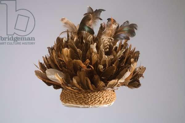 Warrior's hat, Cameroon Grassfields, mid 20th century (feathers & raffia fibre)