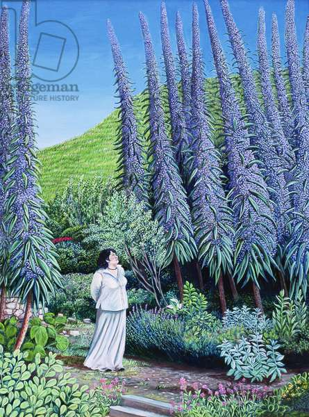 Val and her Echiums, 2009 (oil on canvas)