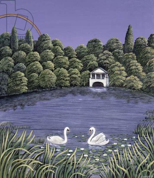 Swans on a lake, 1983 (gouache)