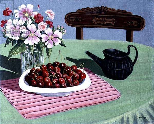 Cherries and a Wedgwood Teapot (oil on canvas)