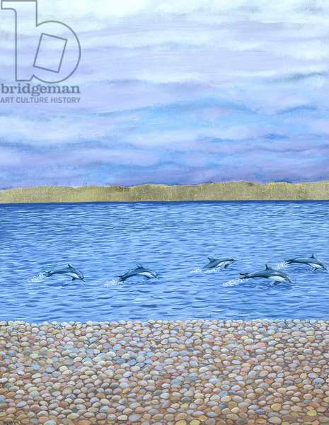 Dolphins in Chesil Cove, 2001 (oil on board)