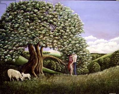 Lovers and a Hawthorn Tree, 1982 (panel)