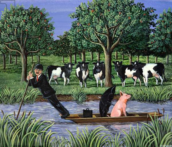 Punting for business, 1983 (gouache)