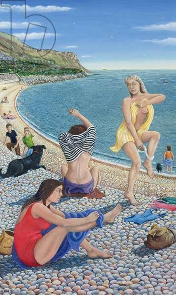Bathers on Chesil Beach (oil on canvas)