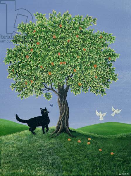 Orange Tree and Cat, 1981 (gouache)
