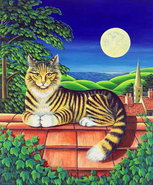Cat on the tiles, 1993 (acrylic on paper)