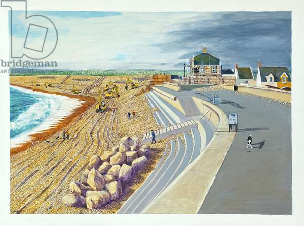 Diggers repairing the Chesil Beach on the Isle of Portland, 2010 (acrylic on paper)