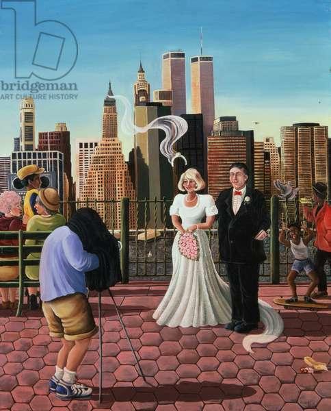 New York Wedding, view of Manhattan, 1987 (oil on canvas)