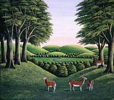 Deer on the hill, 1985 (gouache)