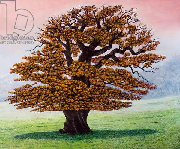 Old Oak tree Dancing the Rumba (oil on canvas)
