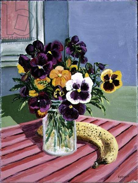 Still life with pansies and a banana, 1989
