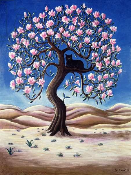 Black Cat in a Magnolia Tree, 1988 (pastel)