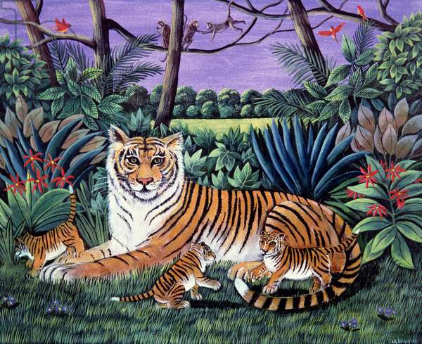Tiger with Cubs, 1983 (gouache on paper)