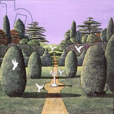 Topiary and doves, 1985 (gouache)