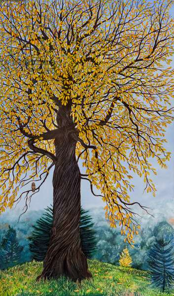 Sweet Chestnut tree Dancing the Highland Fling (oil on canvas)