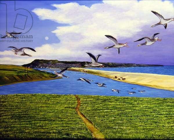 Grey Lag Geese Landing on the Fleet, 2008 (oil on canvas)