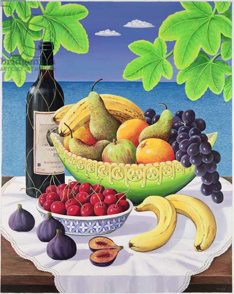 Still life with fruit and wine, 1993 (acrylic on paper)