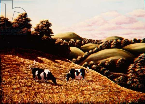Cows in a Cornfield, 1987 (panel)