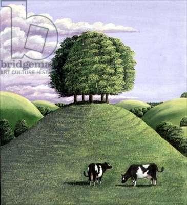 Hilltop trees, 1985 (gouache)