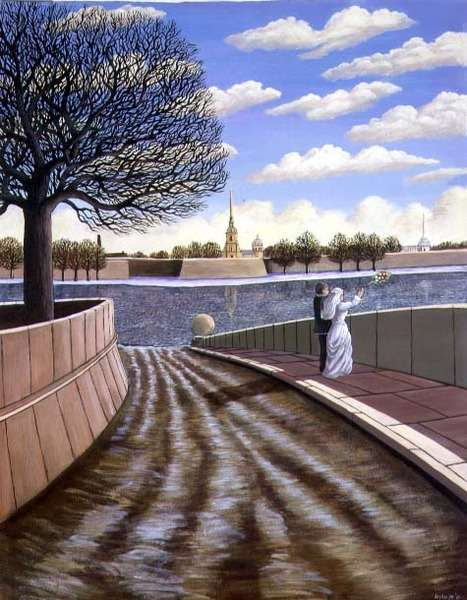 Dedication to the River Neva, St. Petersburg, 1990 (acrylic on paper)
