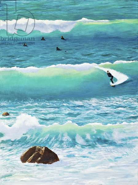Surfing in Chesil House, 2014 (oil on canvas)