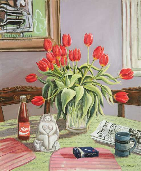 Still life of Tulips and Russian Coke, 1988