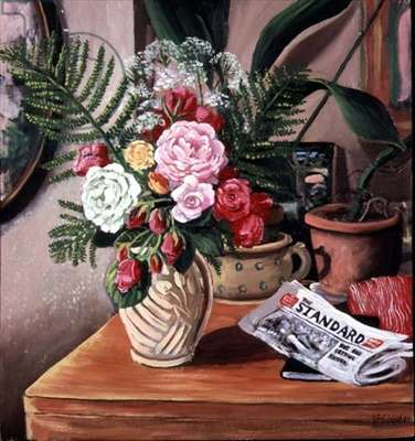 Still life with roses and a newspaper, 1983 (panel)
