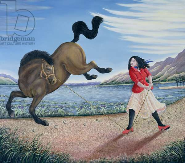 Strong Woman Subduing a Horse, 1997 (oil on canvas)