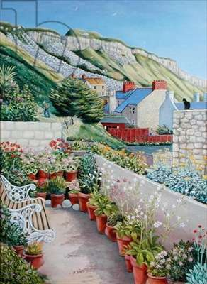 Garden Terrace and Cliff, 2002 (oil on board)