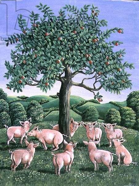 Pigs under the apple tree, 1983 (gouache)