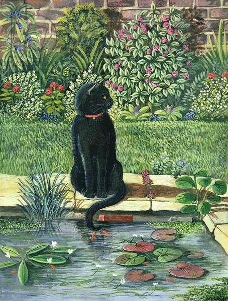 Black cat by a pond, 1983 (gouache)