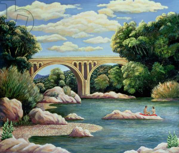 River Bathers, or Bridge (oil on board)