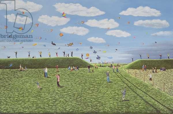 Kite Festival on Eggardon Hill, Dorset, 2007 (oil on canvas)