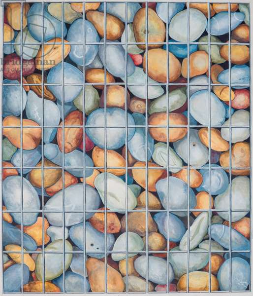 Caged Pebbles, 2018 (w/c on paper)