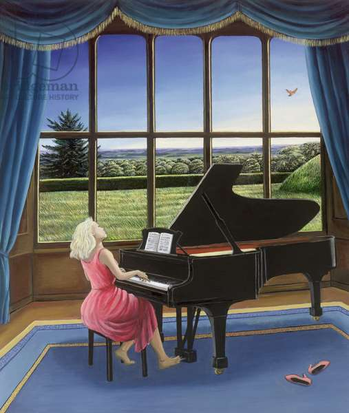 Playing Mozart (oil on canvas)