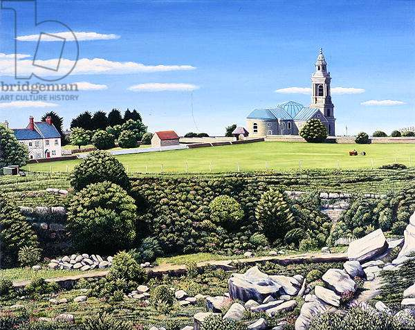 St. George's Church and Quarries, Portland, 2006 (oil on canvas)