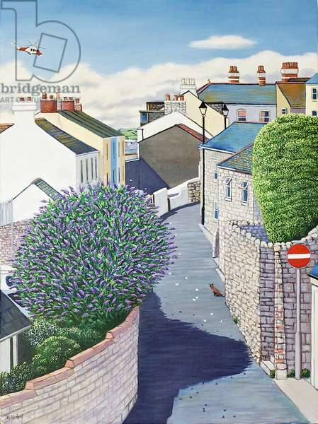 Buddleia in Clements Lane, Chiswell, 2014 (oil on canvas)