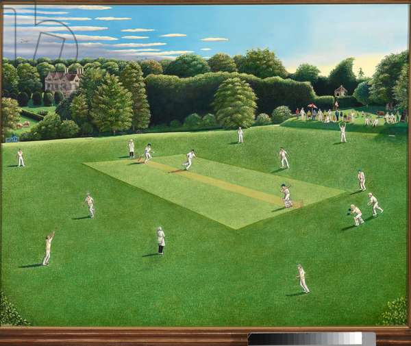 The Chelsea Arts club playing at Keevil Manor, 1997 (oil on canvas)