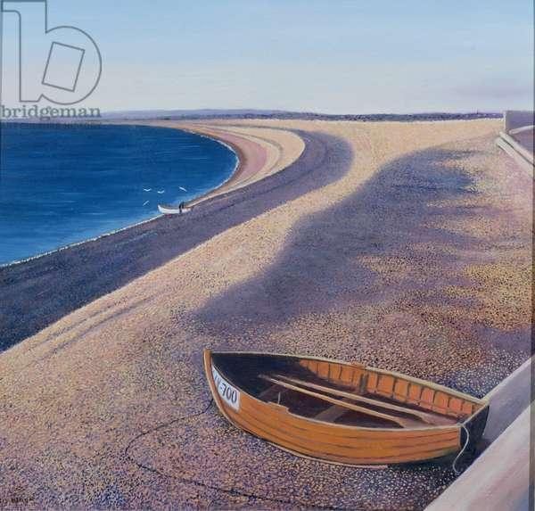 The Chesil Beach, 2000 (oil on board)